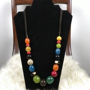 Jewelry - Statement Necklace with Multi-Coloured Beads